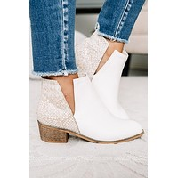 Shield White Double Printed Snake Booties