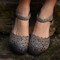 Handmade Fashion Leather Retro Flat Shoes for Women Strappy Sandals, Casual  Buckle Shoes, Hollow flower Soft Shoes,Round Toe Shoes