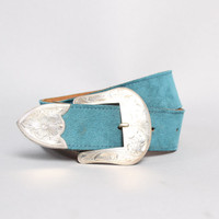 70s Vogt STERLING SILVER Buckle Set / Turquoise Suede BELT