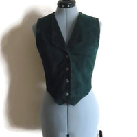 90s Cropped Vest Wilson Leather Hunter Green Vest Size Small