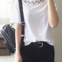 White Printed Collared Sleeveless Shirt