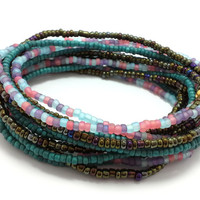 Seed bead wrap stretch bracelets, stacking, beaded, boho anklet, bohemian, stretchy stackable multi strand, pink blue purple dark teal brown