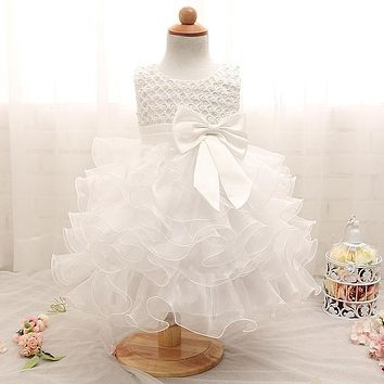 born Baby Girls Dresses Beads Bow Kids Christening Gowns Birthday Dress Princess Outfits