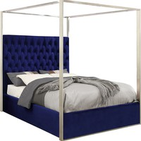 Porter Navy Velvet Queen Bed