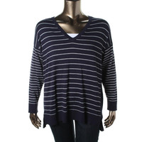 Vince Camuto Womens Plus Knit Striped Pullover Top