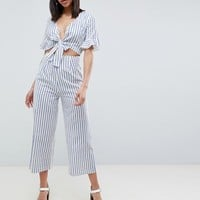 ASOS DESIGN tea jumpsuit with cut out and tie detail in linen in stripe at asos.com