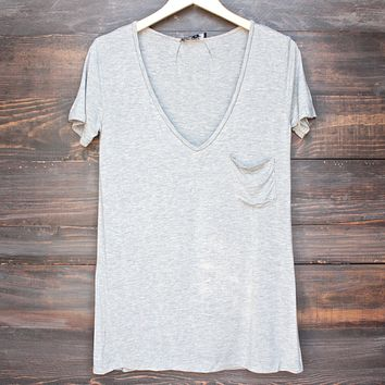 Tease Me Oversized Soft V-Neck T-Shirt in Grey