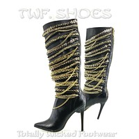 "Zigi NY Tala Black Leatherette Drape Chain 4.5"" Heel Knee High Boots 7-10"