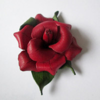 Red Leather Rose Brooch Hat Scarf Sweater Pin Made in Canada