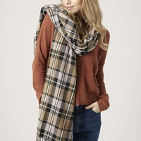 Soft Checked Blanket Scarf - Topshop