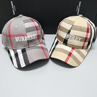 BURBERRY Summer Classic Plaid Embroidery Casual Hat Cap