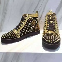 KUYOU Christian Louboutin red sole classic rivet Roller-Boat CL black high-top shoes