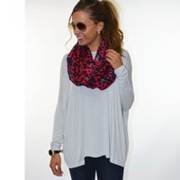 Galloway Light Grey Piko Long Sleeve Top