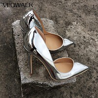 Shiny Silver Women High Heels Pointed Toe Sexy Party Shoes