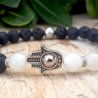 Men's Beaded Hamsa Bracelet, Mens Black Lava Rock & Moonstone Hamsa Hand Bracelet, Prayer Mala Japa Yoga Luck Positive Energy, Free Shipping