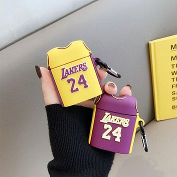 Laker No. 24 Basketball Jersey Soft Shockproof Silicone Wireless Bluetooth For Apple Airpods 1/2 Case Protection Cover With Clip