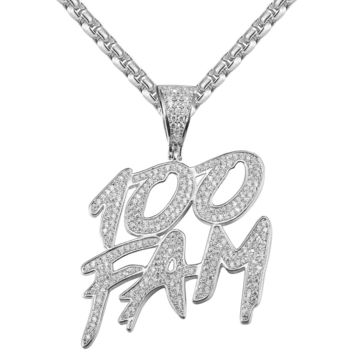 Custom 100 Dollar Fam Rich Slogan Bling  Pendant Chain