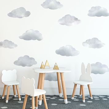 Watercolor Cloud Wall Decals, Cloud Wall Stickers, Nursery Wall Decor, Peel and Stick Removable Eco Friendly Wall Decals