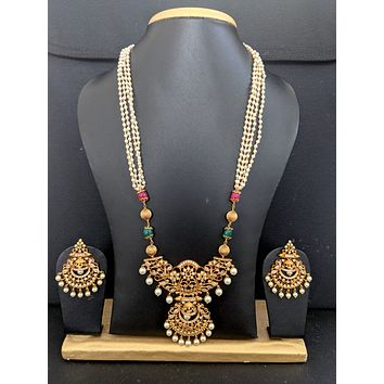 Multi stranded pearl chain with Peacock Pendant and Chandbali Earrings set