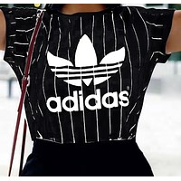 Adidas Summer Hot Sale Women Men Loose Print Stripe Round Collar T-Shirt Top Blouse Black