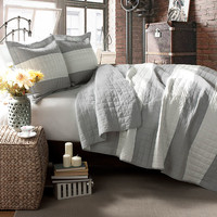 3-Piece Berlin Quilt Set in Gray