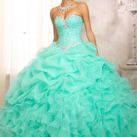 2016 New Mint Pink Ball Gown Quinceanera Dresses Organza With Beads Crystal Sequined Sweet 16 Dress For 15 Years In Stock