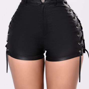 Trace Up The Lace Up Shorts - Black