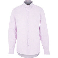 River Island MensPink gingham long sleeve shirt