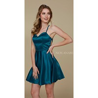 Short Criss-Cross Strap Back Cocktail Homecoming Dress Teal Green