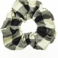 Black and White Flannel Scrunchie Hair Accessory