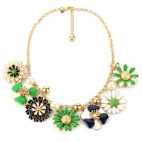 ZLYC Women Fashion Summer Floral Flower Funky Trendy Spring Necklace Gold Chain, Green