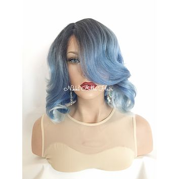 Skyline Blue Short Human Hair Blend Multi Parting Lace front wig 10""