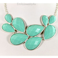 High Quality Silver Tone Statement Necklace,Mint Green Bib Bubble Necklace,Chunky Necklace,Cluster Necklace-BN352