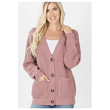 Cozy Cute Waffle Knit Dusty Rose Sweater Cardigan with Buttons