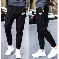 NIKE Fashion Men Print Sport Pants Trousers Sweatpants Black