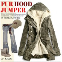 Wholesale Hot Sale Zipper Fur Lining Hooded Coat Army Green