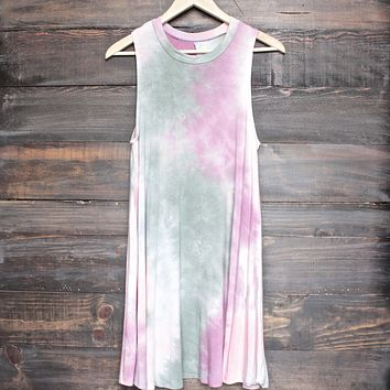 To Dye For Shirt Tank Dress in Olive and Pink Tie Dye