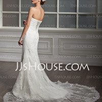 Mermaid Sweetheart Chapel Train Satin Tulle Wedding Dresses With Lace (002012605) - JJsHouse