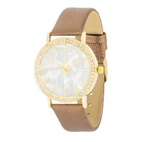 Gold Shell Pearl Watch With Crystals