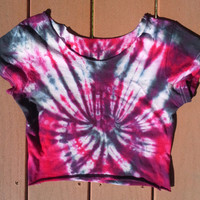 Red and Black Spider Tie Dye Crop Top