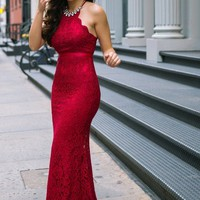 Amalia Burgundy Lace Maxi Dress