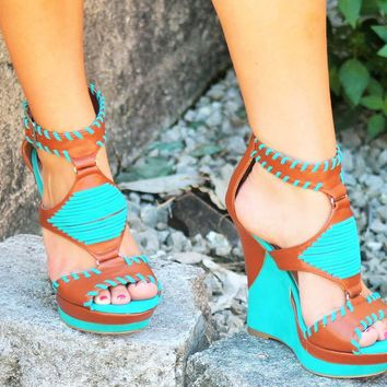 Bamboo Brown & Turquoise Wedges