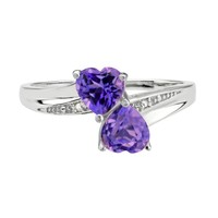 Amethyst Double Heart and Diamond Sterling Silver Birthstone Ring -...