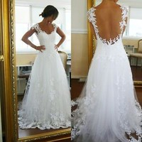 Lace Wedding Dress V-neck Chapel Train Simple Summer Bridal Gowns with Lace
