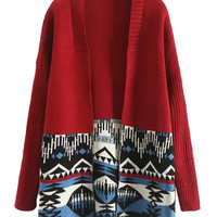 Red Contrast Tribe Pattern Long Sleeve Open Front Knit Cardigan