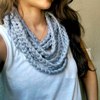 Cotton Infinity Rope Scarf, Loopy Statement Necklace, Cotton Crocheted Infinity Scarf, Shimmery Noodle Scarf, Cotton Rope Eternity Scarf