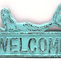 Mermaid Welcome Door Sign Wall Decor Beach Blue Distressed Cottage Chic Nautical Plaque