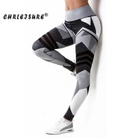 Chrleisure 3D Digital Print Leggings Women Irregular Color Blocks Quick-drying Fitness Legging Elasticity Leggings Workout