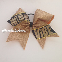 Don't kill my VIBE/ Gold Glitter Cheer Bow by RAWkstarBows on Etsy