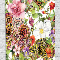 Paisley Design Floral Decor Blooming Flowers Bouquet of Roses Digital Printed Tapestry Wall Hanging Wall Tapestry Living Room Bedroom Dorm Decor, Green Pink Red Brown Purple